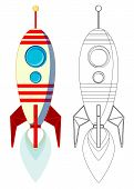 Flight of the Missile with Flame from Engine, Color and contour image, Vector Illustration