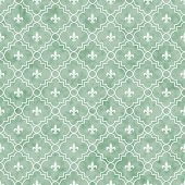 Green And White Fleur-de-lis Pattern Textured Fabric Background