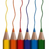6 Colored Pencils In A Row
