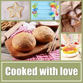 Home baking collage, Cooked with love concept