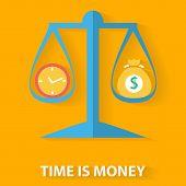 Time is money flat design concept
