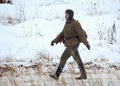 Woman Soldier Walking