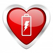 battery valentine icon power sign