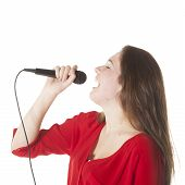 Young Brunette With Microphone In Studio