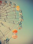 foto of ferris-wheel  - Close up Ferris Wheel over sky at fairground - JPG