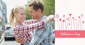 Couple in check shirts and denim hugging each other against valentines graphic