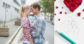 Couple in check shirts and denim hugging each other against sketch of kissing couple with pencil