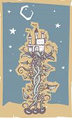 image of mother goose  - woodcut style image of a the fairy tale magic beanstalk and beans with the giants castle - JPG