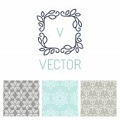 Vector Set Of Floral Border And Seamless Patterns