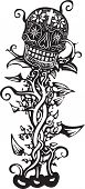 foto of day dead skull  - Woodcut style image of a Mexican day of the dead skull tangled in vines - JPG