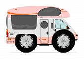 stock photo of camper-van  - Funny camper van on big wheels - JPG