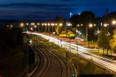 Road At Night By Rails