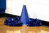 image of pom poms  - Cheerleading megaphone and pompoms sit on the wooden gymn floor