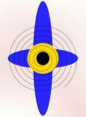 Blue Propeller With A Yellow Center