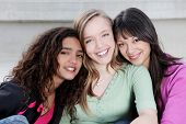 image of teenage girl  - happy smiling diverse group of kids - JPG