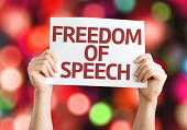 Freedom of Speech card with colorful background with defocused lights