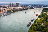 picture of observed  - Danube River with Anchored Boats and Unmounted Old Bridge in Bratislava Slovakia as Seen from Observation Deck