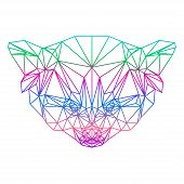 Polygonal Abstract Vector Gradient Colored Red Panda Silhouette Drawn In One Continuous Line