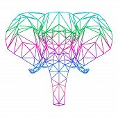 Polygonal Abstract Vector Gradient Colored Elephant Silhouette Drawn In One Continuous Line Isolated