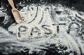 Flour On A Black Background