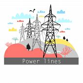 Illustration Towers With Power Lines