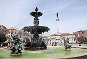 Lisbon , Fountain In The Square Rossio