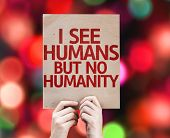 I See Humans But No Humanity card with colorful background with defocused lights