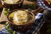 pic of french toast  - Homemade French Onion Soup with Cheese and Toast - JPG