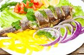 stock photo of hake  - fish hake baked with vegetables on a plate - JPG