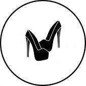 stock photo of platform shoes  - platform high heels shoes symbol - JPG
