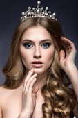 stock photo of princess crown  - Beautiful girl with a crown in the form of a princess - JPG