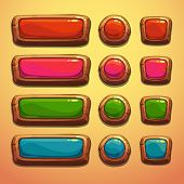 foto of oblong  - Set of cartoon wooden buttons - JPG