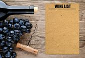 Bottle Of Wine, Corkscrew, Grape And Blank Wine List