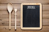 Menu Blackboard And Wooden Fork And Spoon