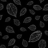 stock photo of monochromatic  - Simple black and white seamless pattern with raspberry leaves - JPG