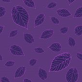 Violet raspberry leaves on the violet field. Dark seamless pattern.