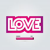 Vector paper inscription love cut from pink backdrop