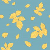Abstract raspberry leaves. Clear pastel colors. Seamless pattern.