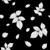 Seamless pattern with raspberry leaves. Monochrome black and white.