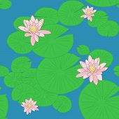 Bright Seamless pattern with Yellow Lotuses in the pond.