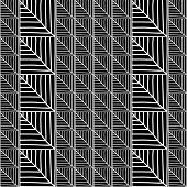 Monochrome African Ornamental Pattern. Stylized Seamless texture with triangles or Tree Leaves.