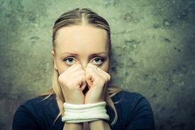 stock photo of shock awe  - Kidnapped woman  - JPG