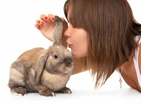 picture of dwarf rabbit  - Girl make a wish in the year of rabbit - JPG