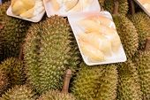 pic of smelly  - Durian on asian market sell smelly asian fruit - JPG