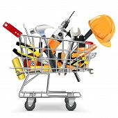 pic of trolley  - Supermarket trolley with different tools and helmet isolated on white background - JPG