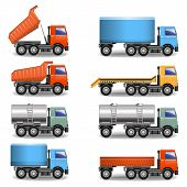 image of tank truck  - Different Truck Icons isolated on white background - JPG