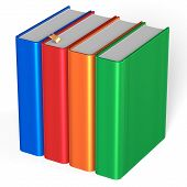 stock photo of four  - Four blank books educational textbooks bookshelf bookcase row standing 4 colorful blue red orange green template - JPG