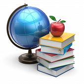 foto of geography  - Globe books apple blank global geography wisdom literature icon studying knowledge symbol concept - JPG