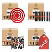 stock photo of barcode  - Shipment Icons Set 18 including carton box - JPG