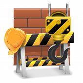 foto of crane hook  - Under Construction Concept with barrier - JPG